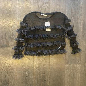 Sheer Black Ruffle Top